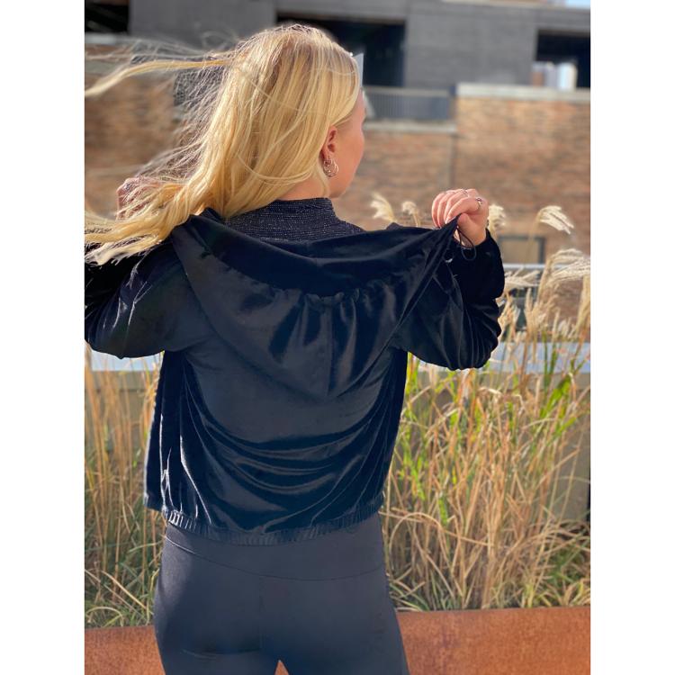 K&k velour zip hoodie